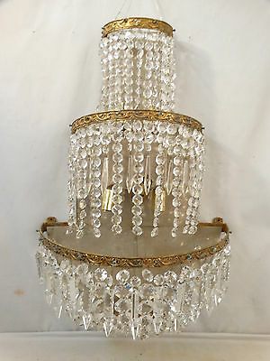 LG Vintage HOLLYWOOD REGENCY Old BRASS Hanging CRYSTAL PRISM Old WALL SCONCE