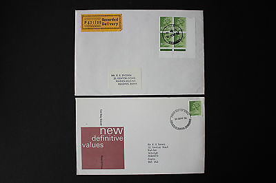 GB QEII Stamps 1975 New Definitive MACHIN U166 8½p Green - Pair of Covers, 1xFDC