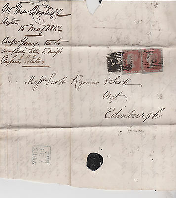1852 QV AYTON ENTIRE WITH PAIR OF 1d RED IMPERF STAMPS SEE MARGINS TO EDINBURGH