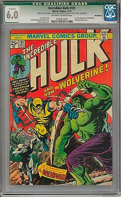 Incredible Hulk #181 CGC 6.0 (OW-W) 1st appearance of Wolverine X-men