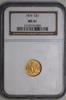 1874 $1 Gold Indian Princess Head MS61 NGC US Mint Coin