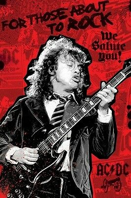AC/DC ~ ANGUS YOUNG FOR THOSE ABOUT TO ROCK 24x36 MUSIC POSTER AC-DC AC DC