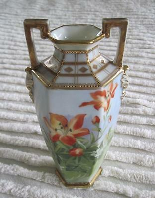 """Hand Painted Nippon Lilies 6.5"""" Vase with Gold Trim"""