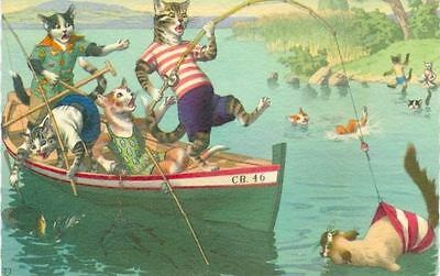 Old Mainzer Cats Fishing in Boat Postcard PC 4887 BELGIUM Excellent Condition!