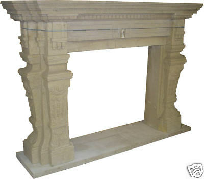 "80""L x 56""H. sandstone Hand Carved Fireplace Mantle"