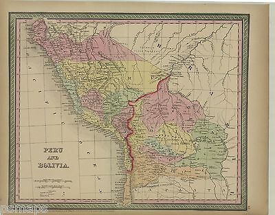 "1854 Mitchell/Cowperthwait ""Peru and Bolivia""-original, hand color"