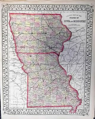 "1871 S.A. Mitchell ""County Map of the States of Iowa & Missouri"""