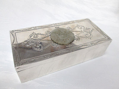 ANTIQUE STERLING SILVER BOX W/ CHINESE JADE CARVING ON TOP - 341.1g !