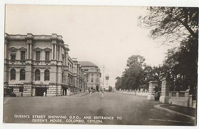 Queens Street Showing GPO Colombo Ceylon Vintage RP Postcard 0903