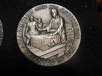 Longines Symphonette Sterling Silver Medal Eli Whitney and His Cotton Gin