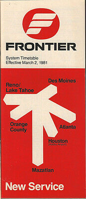 Frontier Airlines system timetable 3/2/81 (Buy 2 get 1 free)