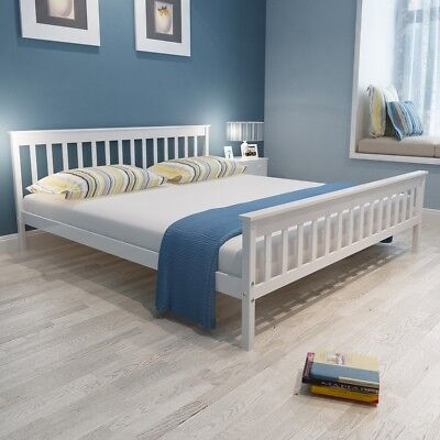 New White Solid Pinewood Bed 200 x 180 cm Sturdy Wood Wooden Frame Easy Assembly