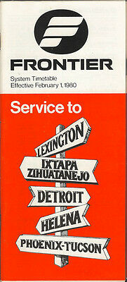 Frontier Airlines system timetable 2/1/80 (Buy 2 get 1 free)