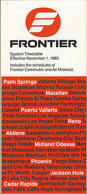 Frontier Airlines system timetable 11/1/83 (Buy 2 get 1 free)