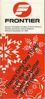 Frontier Airlines system timetable 12/13/84 (Buy 2 get 1 free)
