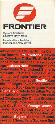 Frontier Airlines system timetable 5/1/83 (Buy 2 get 1 free)