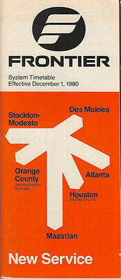 Frontier Airlines system timetable 12/1/80 (Buy 2 get 1 free)