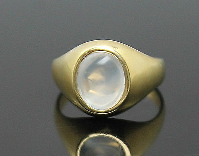 Elegant Genuine Moonstone Highly Polished Solid 18K Yellow Gold Signet Ring 7.5