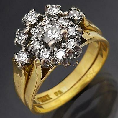 Lively 18K Solid Yellow GOLD & DIAMOND 2 RING SET Cluster & Curved Eternity Sz K