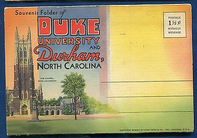 Duke University Durham North Carolina nc linen postcard folder foldout #2