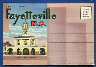 Fayetteville North Carolina nc linen postcard folder foldout