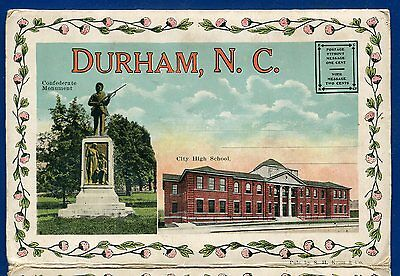 Durham North Carolina nc 1930s postcard folder foldout #2