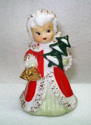 Lefton Christmas Angel Bell With Spaghetti Trim, Gold Bells & Christmas Tree