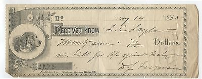 Old 1895 Cancelled Check Cheque Dogs Head Logo