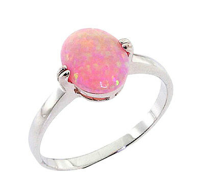 Oval Synthetic Pink Opal Sterling Silver Jewelry Women Engagement Wedding Ring