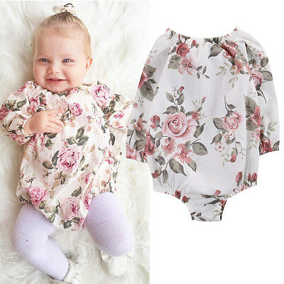 Lovely Newborn Baby Girl Cotton Romper Bodysuit Playsuit Outfits Clothes 0-18M