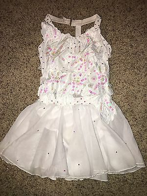 Glamour M child lyrical Dress Solo dance costume Competition White Sheer Skirt