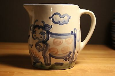 M.A. Hadley Pottery Country Scene Blue Collection Pitcher