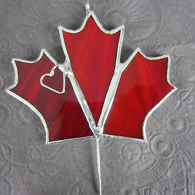 Canada Maple Leaf Stained Glass Red Ornament Sun Catcher Handmade Signed