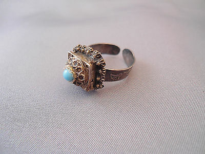 Antique Chinese Silver Poison Ring Filigree & Turquoise