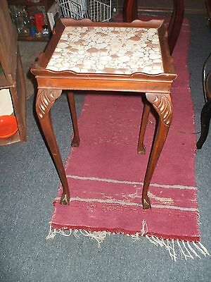 Mahogany End Table Vintage Square Tiled