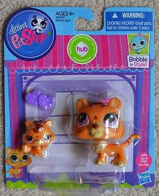 Littlest Pet Shop Bobble in Style Mommy Tiger #3593 & Baby Tiger #3594