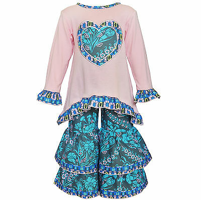 AnnLoren Toddler Girls Boutique 2/3T Pink and Blue Heart Tunic and Pant Set