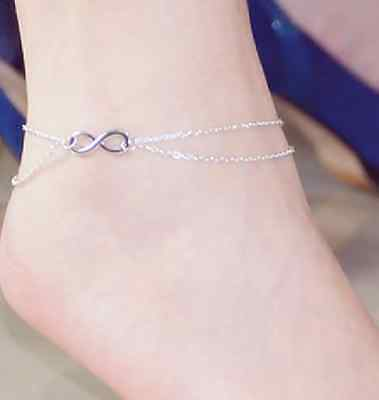 INFINITY charm chain ANKLET Silver or Gold pl barefoot foot fashion jewellery