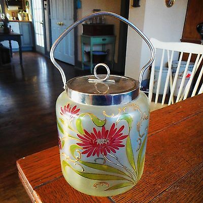 Vintage Frosted Glass Panel Biscuit Cookie Jar-Hand Painted Red Flowers Floral