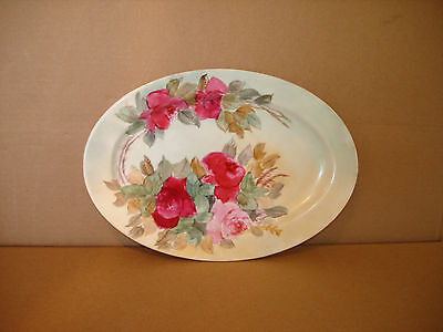 Beautiful Hand Painted Platter Signed M. Palmer with Pink and Red Roses