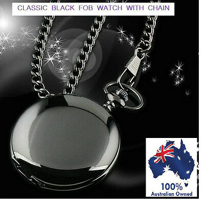 "VINTAGE ""Black"" MIRROR POCKET WATCH "" FREE POUCH "" FOB CHAIN QUARTZ  TIME CHAIN"