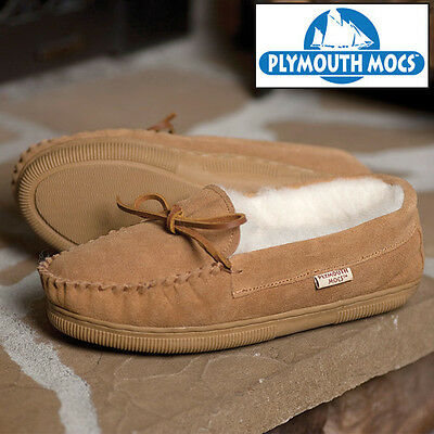 Plymouth Mocs Tan Suede Moccasin Slippers - Men's 11