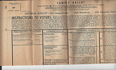 Vtg Lyndon B. Johnson & Barry Goldwater Sample Ballot Instructions To Voters.
