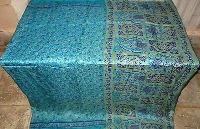 Pure silk Antique Vintage Sari Saree Fabric REUSE 4y 16dgi 6d01 Blue #ABCN3