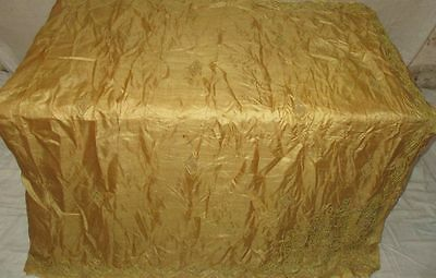 Pure silk Antique Vintage Sari Saree Fabric REUSE 4y 16dgi 6d02 Cream #ABCNY
