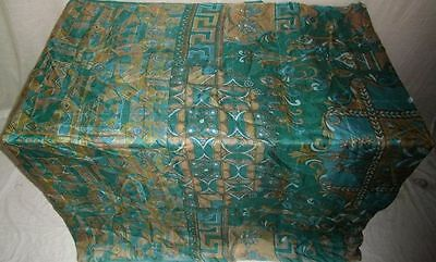 Pure silk Antique Vintage Sari Saree Fabric REUSE 4y 16dgi 6d07 Pck Green #ABCQQ