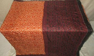 Pure silk Antique Vintage Sari Saree Fabric REUSE 4y 16dgi 6d06 Brown #ABCQ7
