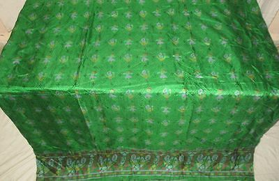 Pure silk Antique Vintage Sari Saree Fabric REUSE 4y 16dgi 6d05 Green #ABCP9