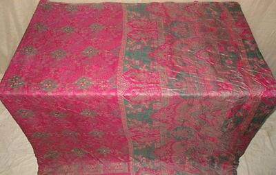 Pure silk Antique Vintage Sari Saree Fabric REUSE 4y 16dgi 6d07 Pink Pck #ABCR2