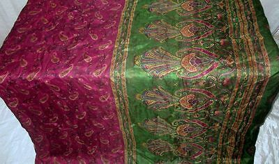 Pure silk Antique Vintage Sari Saree Fabric REUSE 4y 16dgi 6d08 Henna #ABCRT